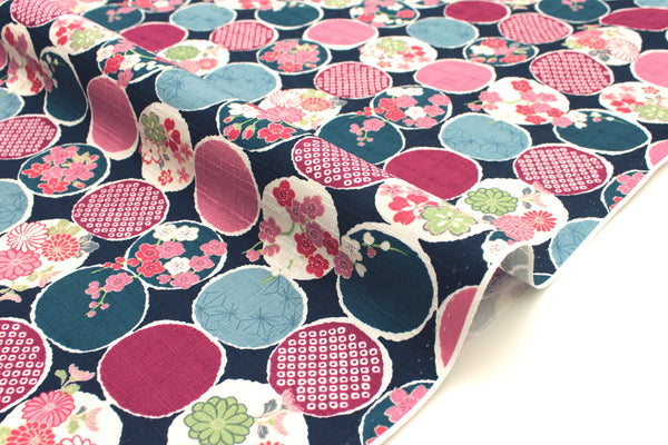 Japanese Fabric Floral Windows dobby - navy blue, pink - 50cm