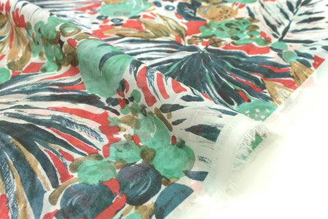 Japanese Fabric Coconuts chiffon voile - green, red, blue - 50cm