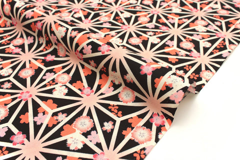 Japanese fabric Retro Japan crepe - peach, orange, black - 50cm