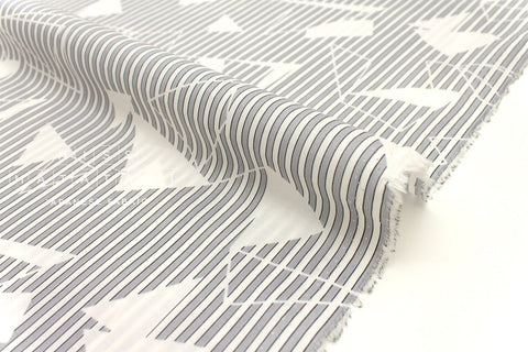 Japanese Fabric Geo Stripes - cotton lawn - grey - 50cm