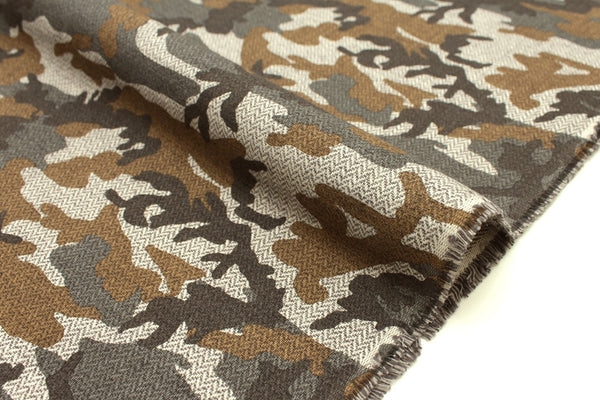 Japanese Fabric herringbone abstract camo - earth - 50cm