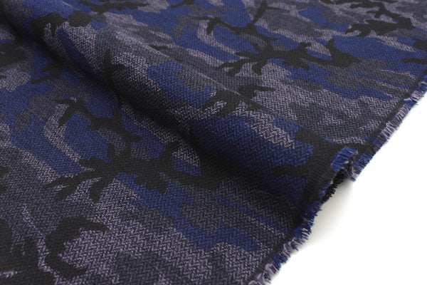 Japanese Fabric herringbone abstract camo - blue - 50cm