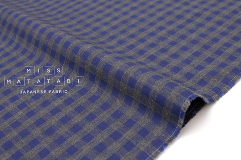 Japanese Fabric - yarn dyed gingham lawn - blue, grey - 50cm