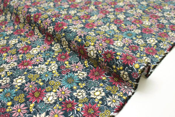 Japanese Fabric Corduroy Flower Burst - blue - 50cm