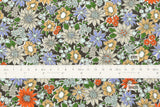 Japanese Fabric Corduroy Flower Burst - green - 50cm