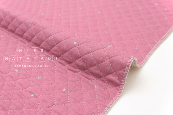 Japanese Fabric - Kobayashi starry pre-quilted double gauze - pink, metallic silver - 50cm