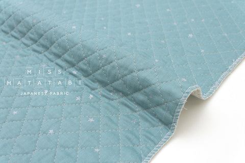 Japanese Fabric - Kobayashi starry pre-quilted double gauze - blue, metallic silver - 50cm