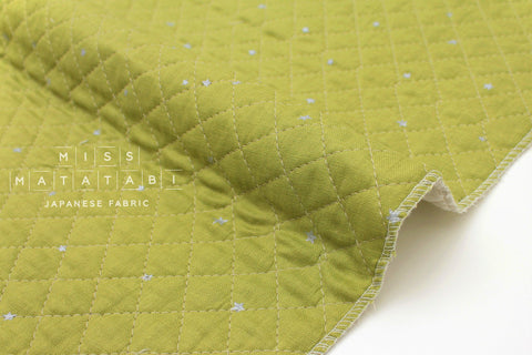 Japanese Fabric - Kobayashi starry pre-quilted double gauze - green, metallic silver - 50cm