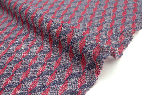 Japanese Fabric Kokka Jazz Nep knit - red, navy blue - 50cm