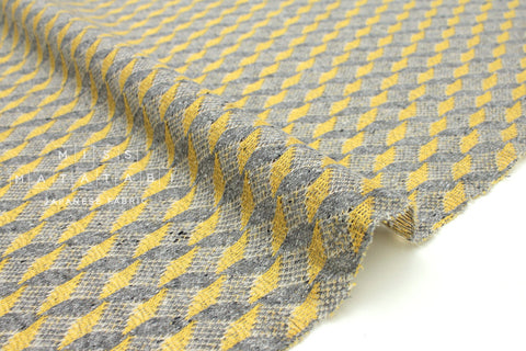 Japanese Fabric Kokka Jazz Nep knit - yellow, grey - 50cm
