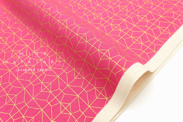Cotton + Steel Akoma - Geo Grid - fuchsia, metallic gold - 50cm