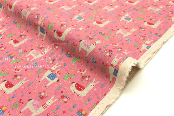 Japanese Fabric Kokka Trefle Llamas - pink - fat quarter