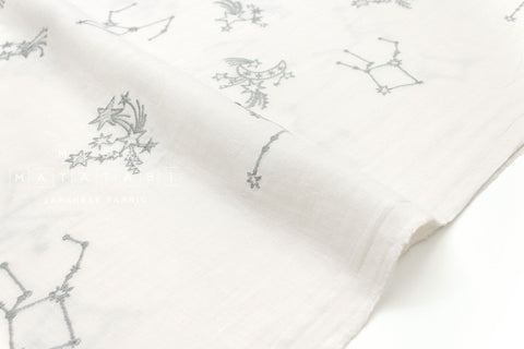 Japanese Fabric Kokka embroidered double gauze - constellation starburst - cream - 50cm