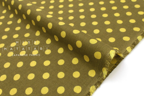 Japanese Fabric double gauze polka dots - chartreuse - 50cm