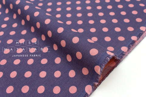 Japanese Fabric double gauze polka dots - pink, blue - 50cm