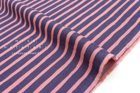 Japanese Fabric double gauze stripes - blue, pink - 50cm
