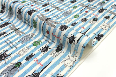 Japanese Fabric Kokka Line Pop Insects - blue - 50cm