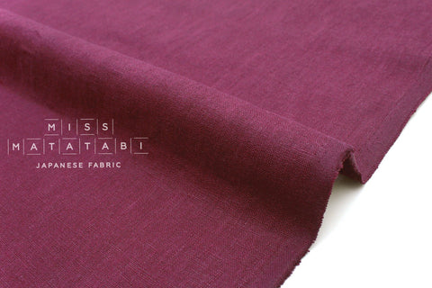 Japanese Fabric 100% brushed linen - berry -  50cm