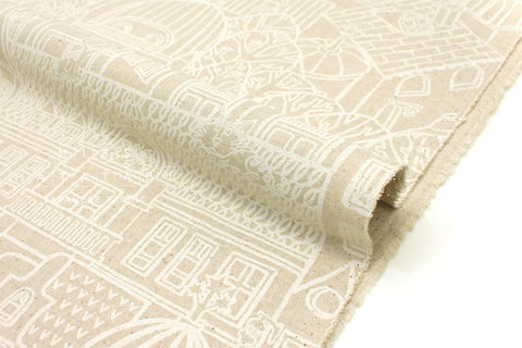 Japanese Fabric Kokka Ihme Chamber Bow Wow Town - white, natural - fat quarter