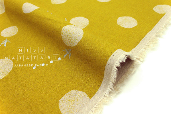 Japanese Fabric Kokka Echino Water Drop - mustard, metallic silver - fat quarter