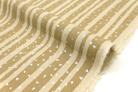 Japanese Fabric Kokka Echino Toge - beige, metallic silver - fat quarter