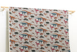 Japanese Fabric - dinosaur twill - taupe grey - fat quarter
