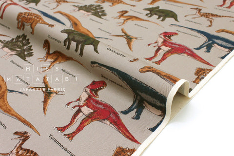 Japanese Fabric - dinosaur twill - taupe grey - 50cm