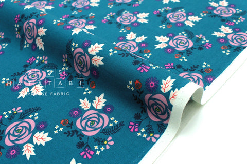 Cotton + Steel Akoma - Wildflower - teal - fat quarter