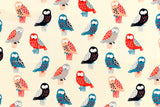 Japanese Fabric Wise Owls - blue, red, cream - 50cm