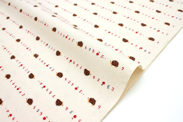 Japanese Fabric Kokka Classics - Counting Hedgehogs - natural - 50cm