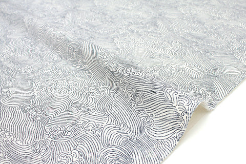 Japanese Fabric Waves - cream, blue - 50cm
