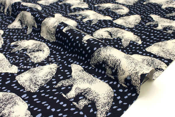 Japanese Fabric Content Bears - charcoal - 50cm