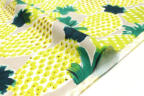 Japanese Fabric Pineapples - greige, yellow - 50cm