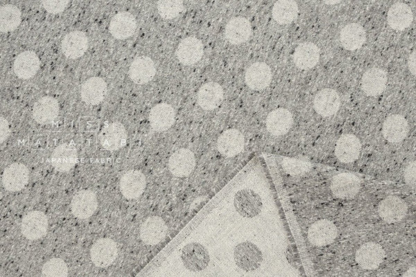 Japanese Fabric Yarn Dyed Brushed Jacquard Dots - grey - 50cm