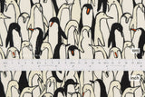 Japanese Fabric Penguin Colony dobby - cream - 50cm