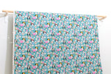 Japanese Fabric Hello! Canvas - turquoise - 50cm