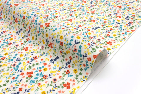 Japanese Fabric Dainty Flowers Brushed Cotton - cream - 50cm