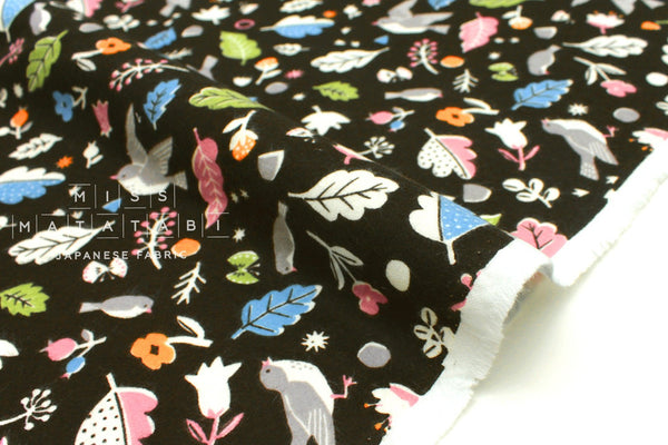 Japanese Fabric Happy Birds flannel - black - 50cm