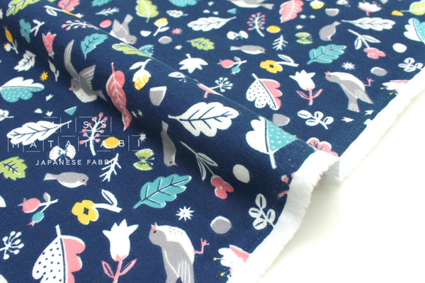 Japanese Fabric Happy Birds flannel - blue - 50cm