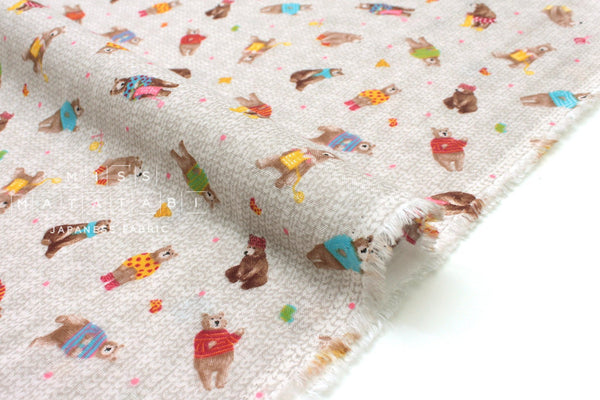 Japanese Fabric Warm Bears double gauze - grey, multi - 50cm