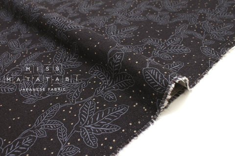 Japanese Fabric Leafy Dots - charcoal blue - 50cm