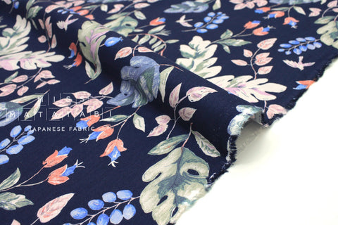 Japanese Fabric Leafy brushed rayon twill - navy blue - 50cm