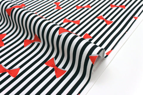 Japanese Fabric Stripes and Bows - black, red, grey - 50cm