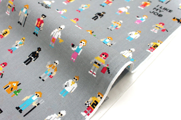 Japanese Fabric I Like My Job - grey - 50cm