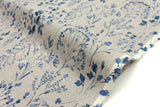 Japanese Fabric 100% linen Wildflowers - indigo blue -  50cm