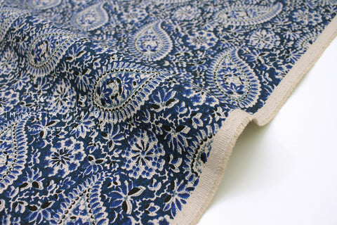 Japanese Fabric Textured Canvas - indigo paisley - 50cm