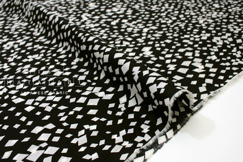 Japanese Fabric Random Mosaic cotton lawn - black, cream - 50cm