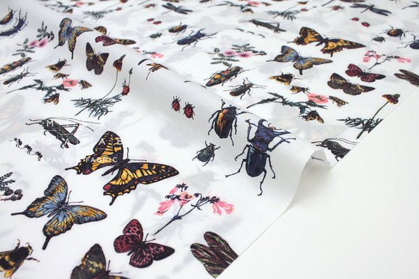 Japanese Fabric Entomology cotton lawn - multi - 50cm