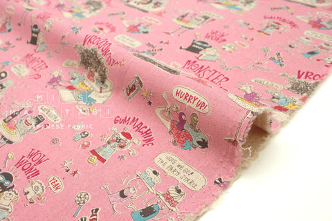 Japanese Fabric Kei Fabric Miyako Monsters - lolly pink - fat quarter