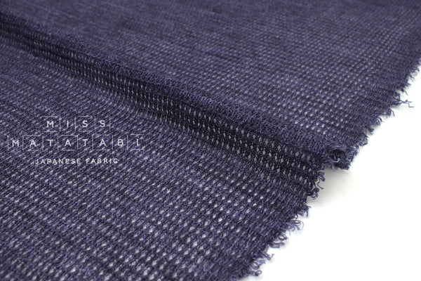 Japanese Fabric 100% Linen Waffle Knit - blue - 50cm